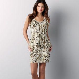 LOFT Leopard Drawstring Waist Lined Dress